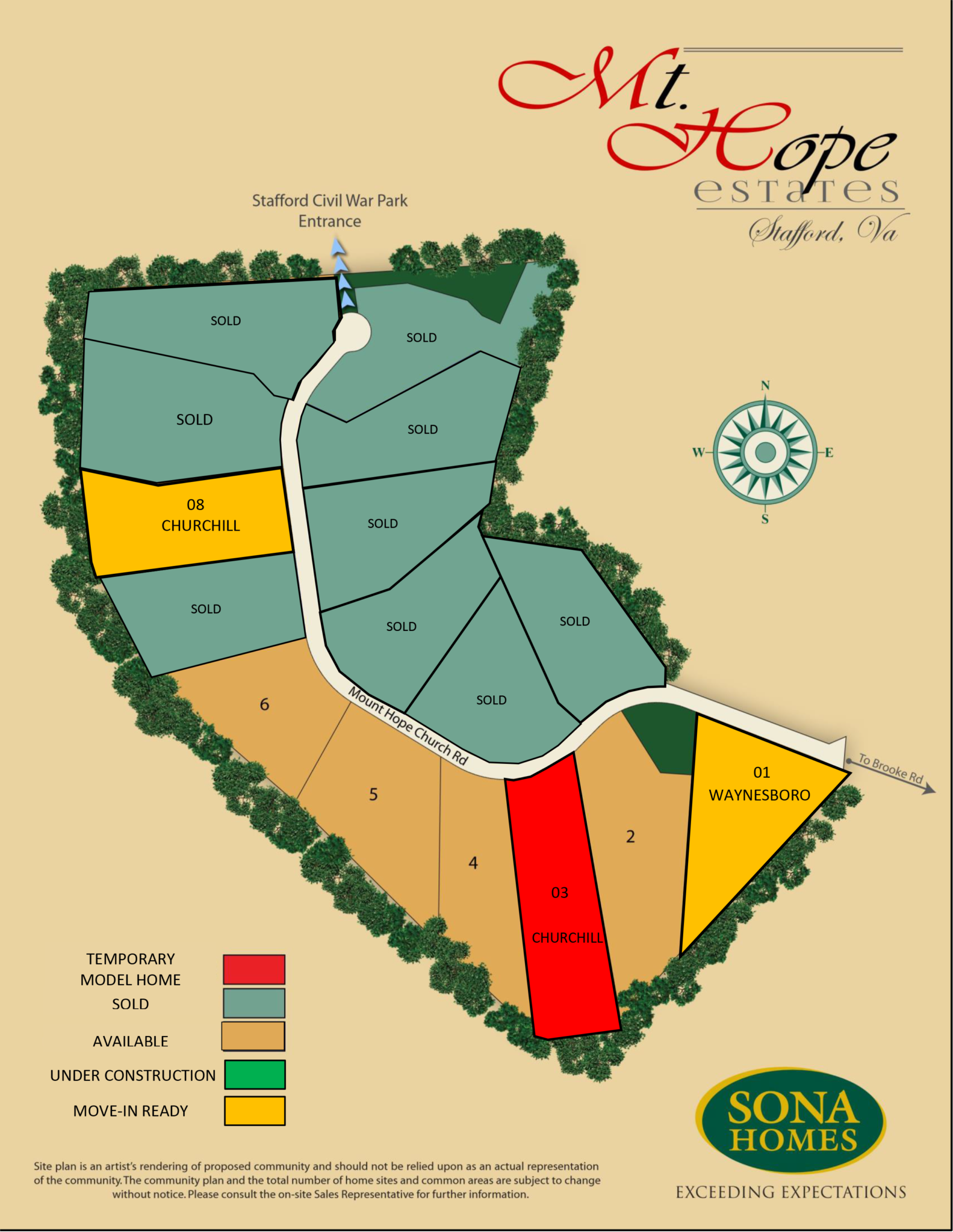 Site Plan of Mount Hope Estates, Stafford, VA